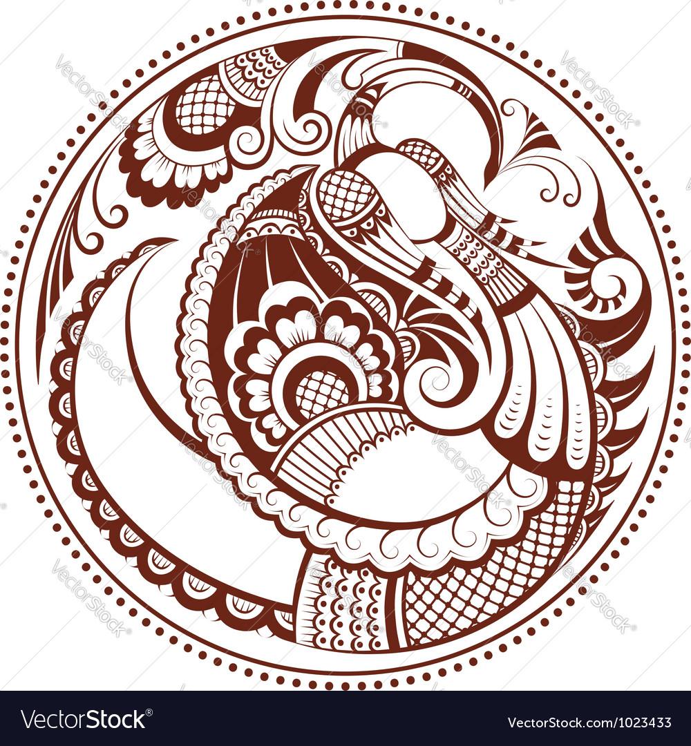 Abstract phoenix bird pattern in mehndi style vector
