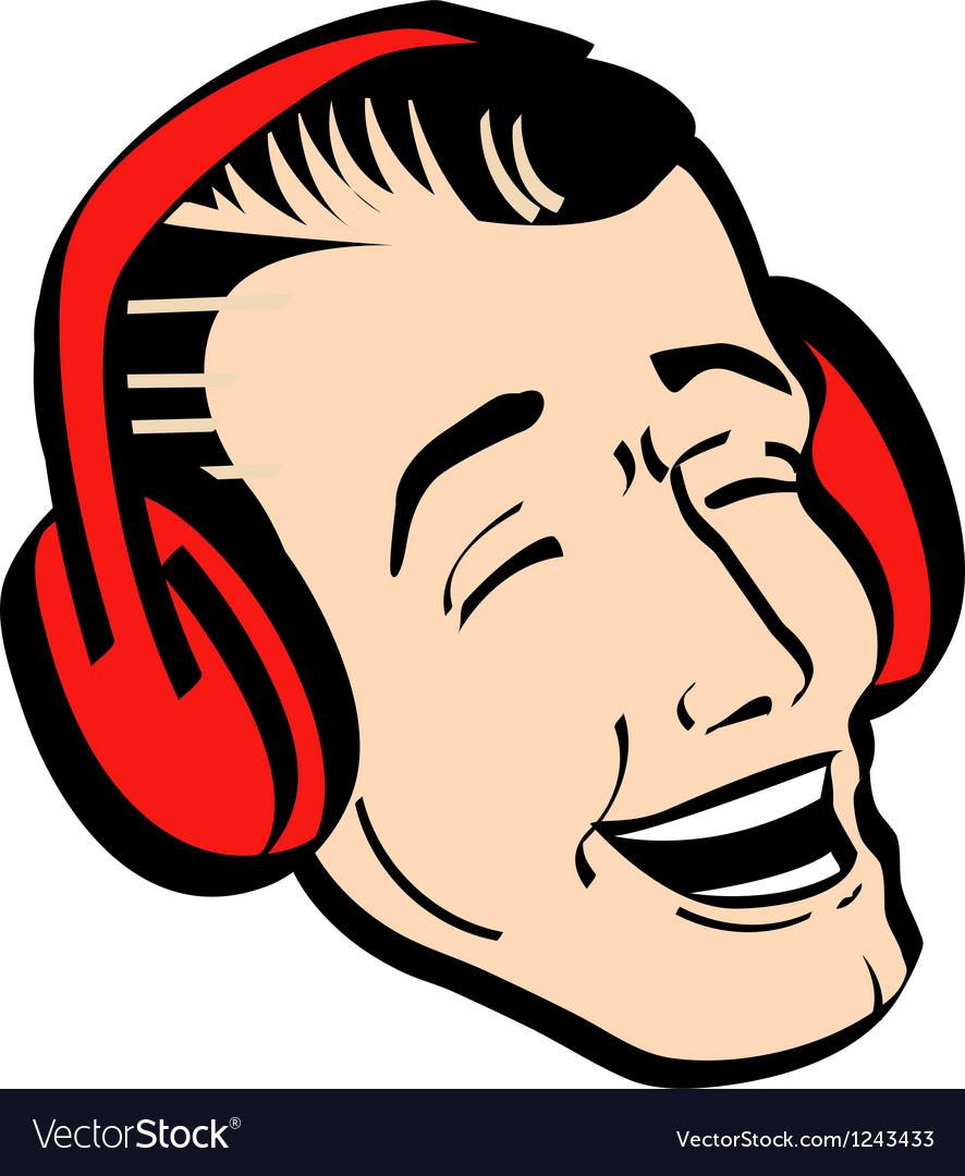 Retro man earmuffs vector