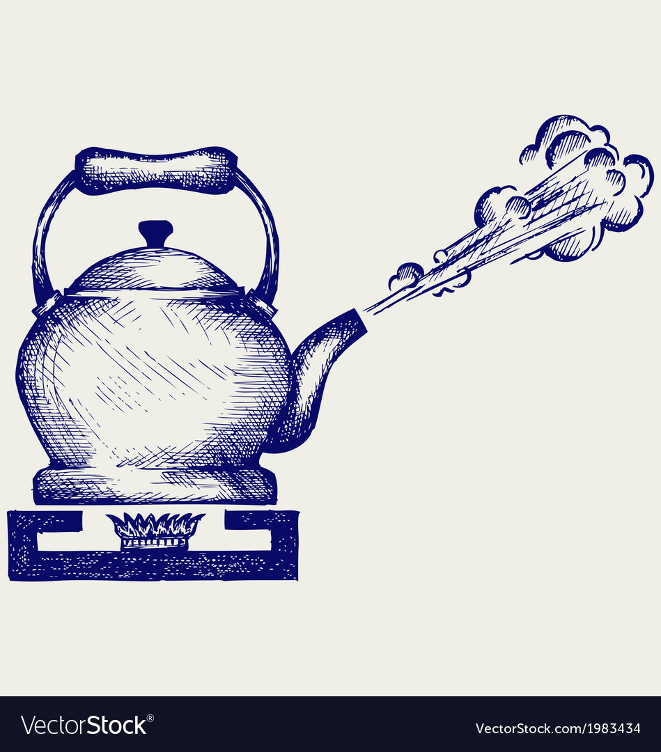 Tea kettle on gas stove vector