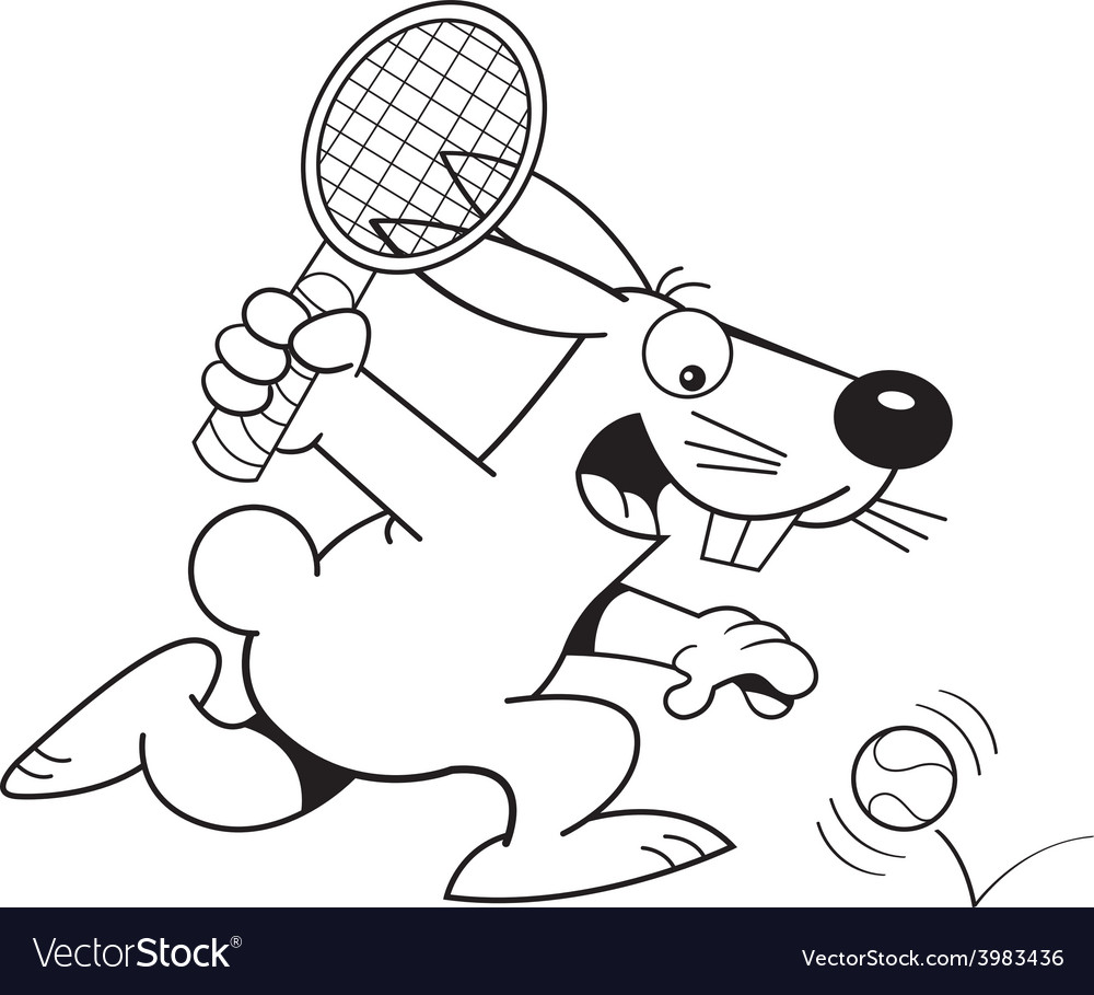 Cartoon rabbit playing tennis vector
