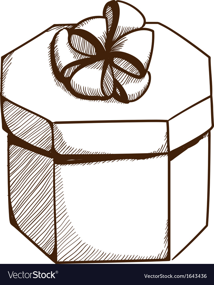 Present box with ribbon and bow vector