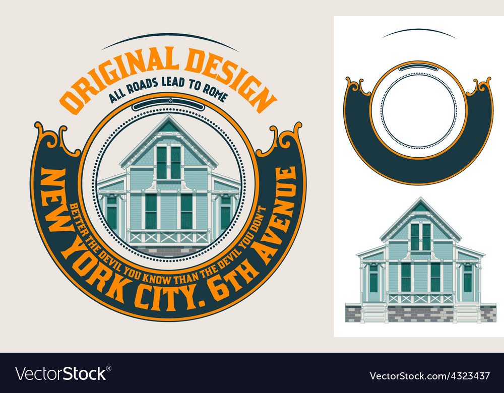 Premium quality label with baroque ornaments vector