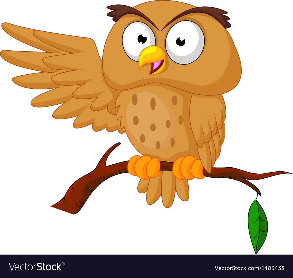 Cute owl cartoon waving vector