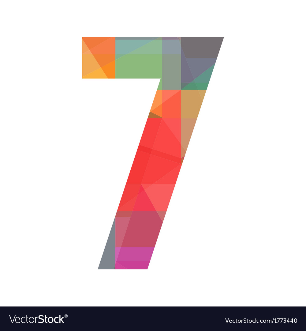 A colorful number seven vector
