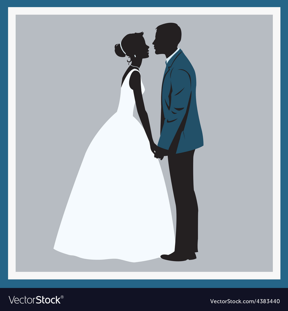 Silhouette wedding couple in love vector