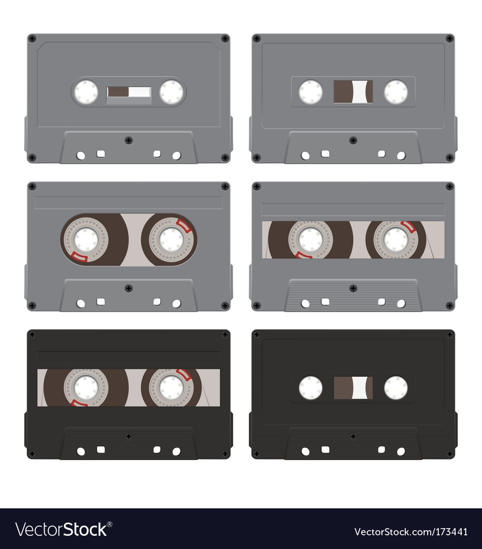 Six audiocassettes vector