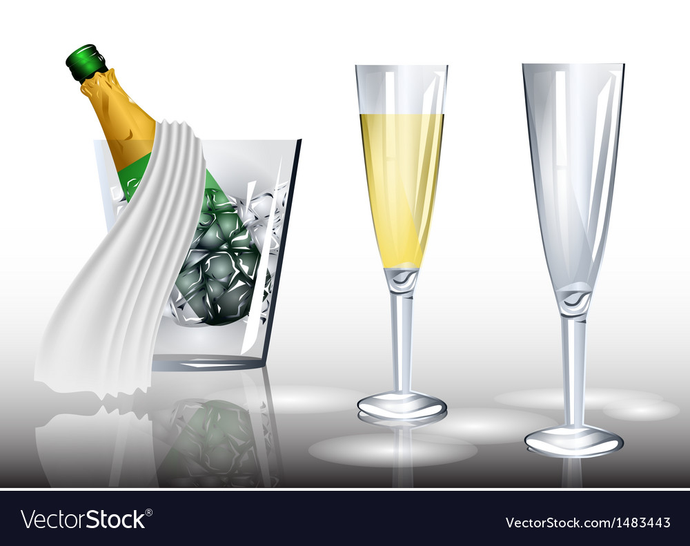 Champagne in ice vector