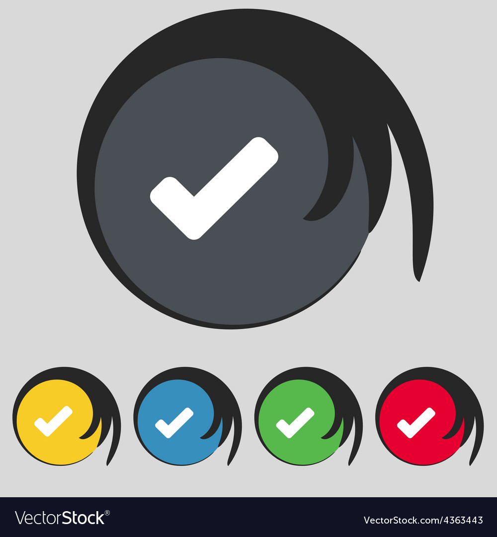 Check mark tik icon sign symbol on five colored vector