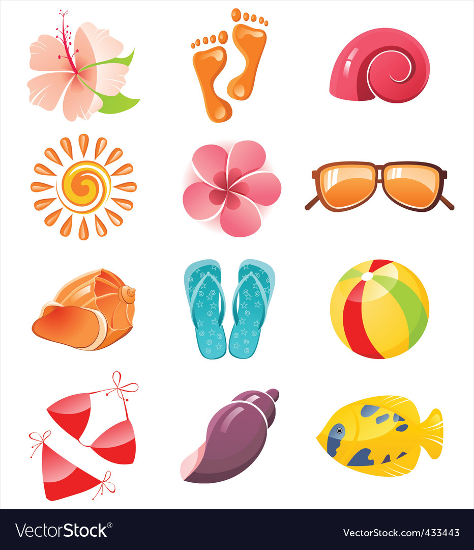 Summer time icons vector