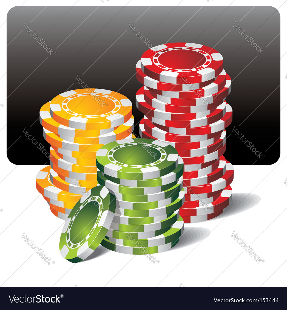 Gambling illustration with poker chips vector