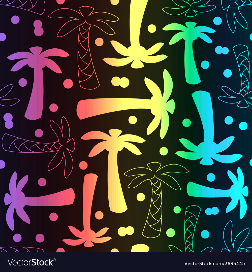 Coconut palm tree silhouette and outline seamless vector