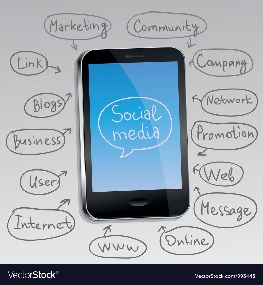 Mobile phone with social media concept vector