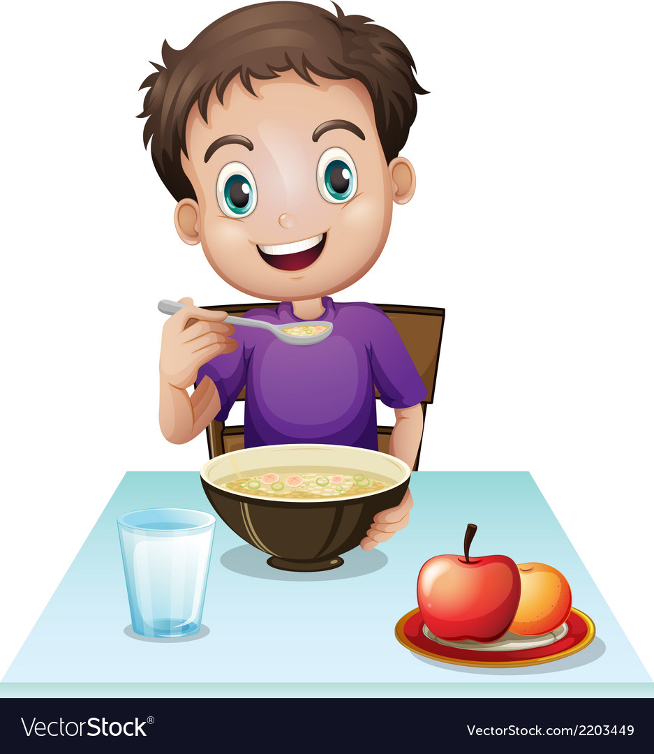 A boy eating his breakfast at the table vector