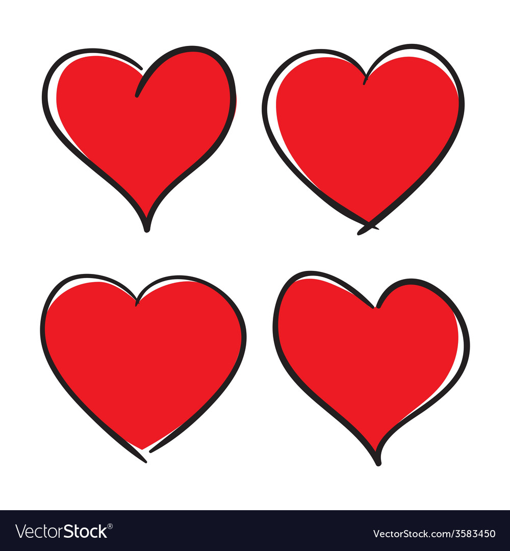 Set of hand drawn hearts design elements vector