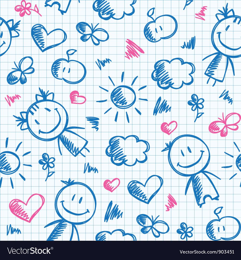 Hand drawn kid pattern vector