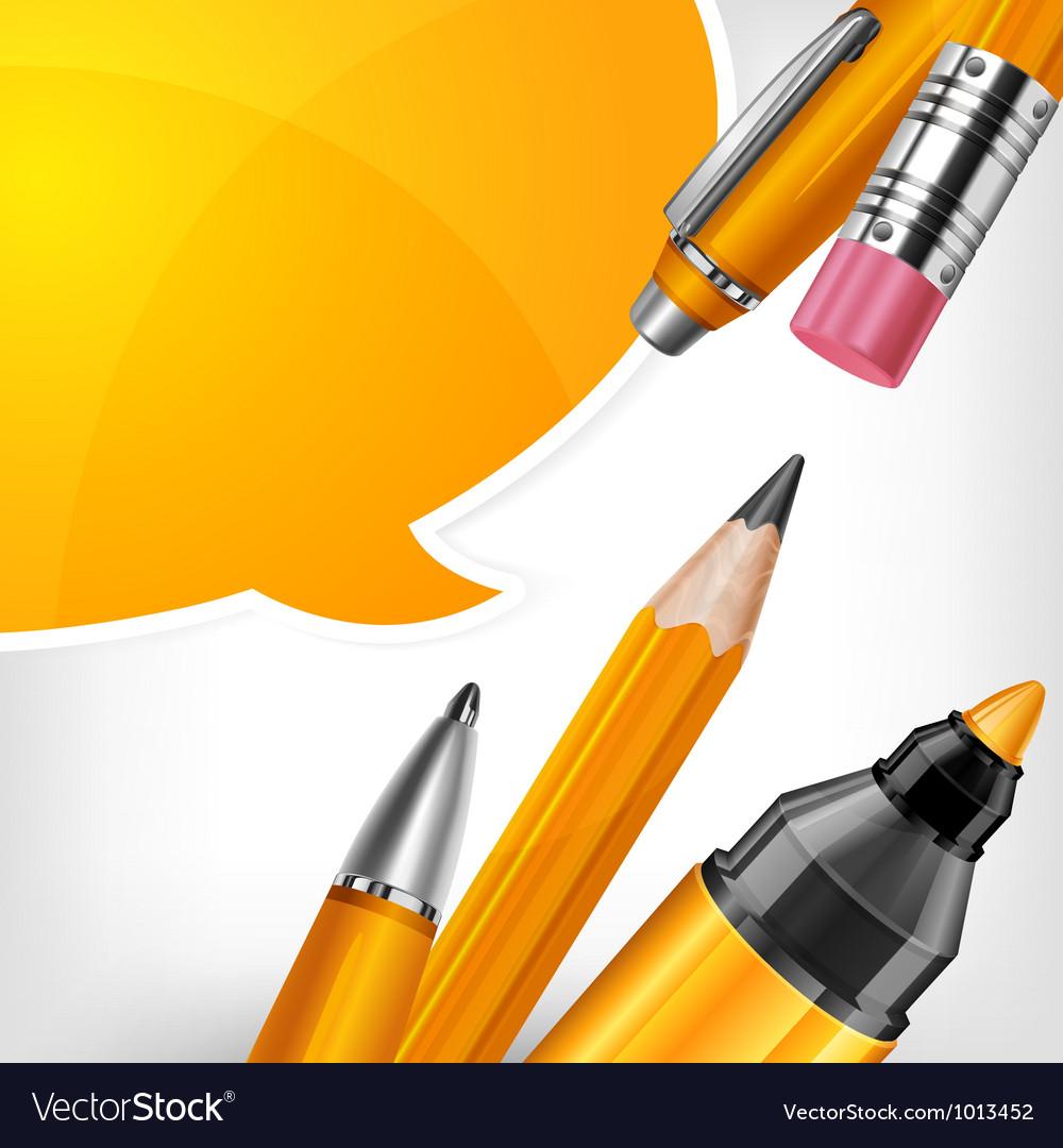 Tip pen pencils speech bubble 10 v vector