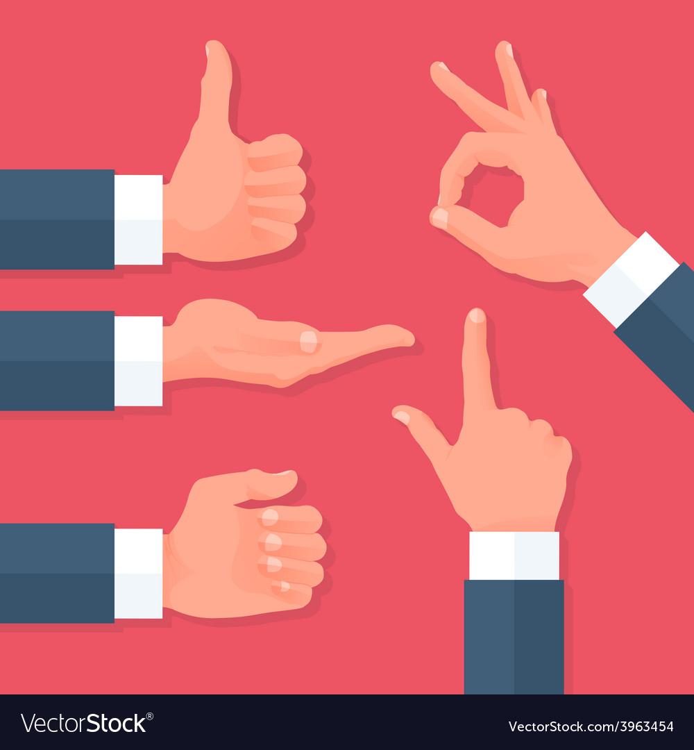 Men hands icons set vector