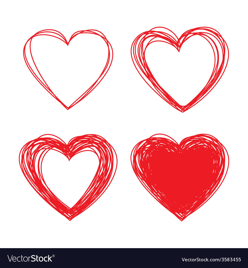 Set of hand drawn scribble hearts design elements vector