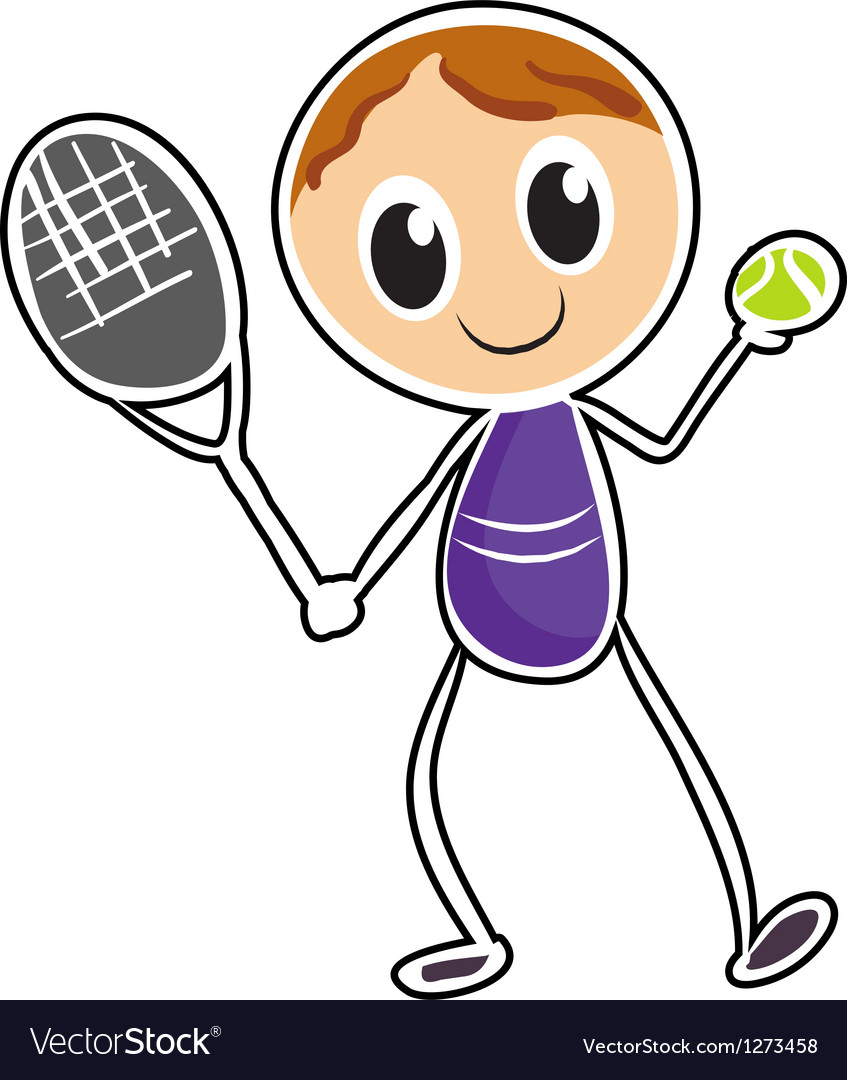 A sketch of a boy playing tennis vector