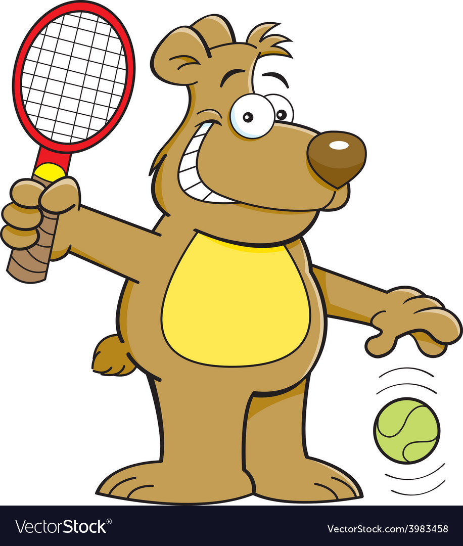 Cartoon bear playing tennis vector