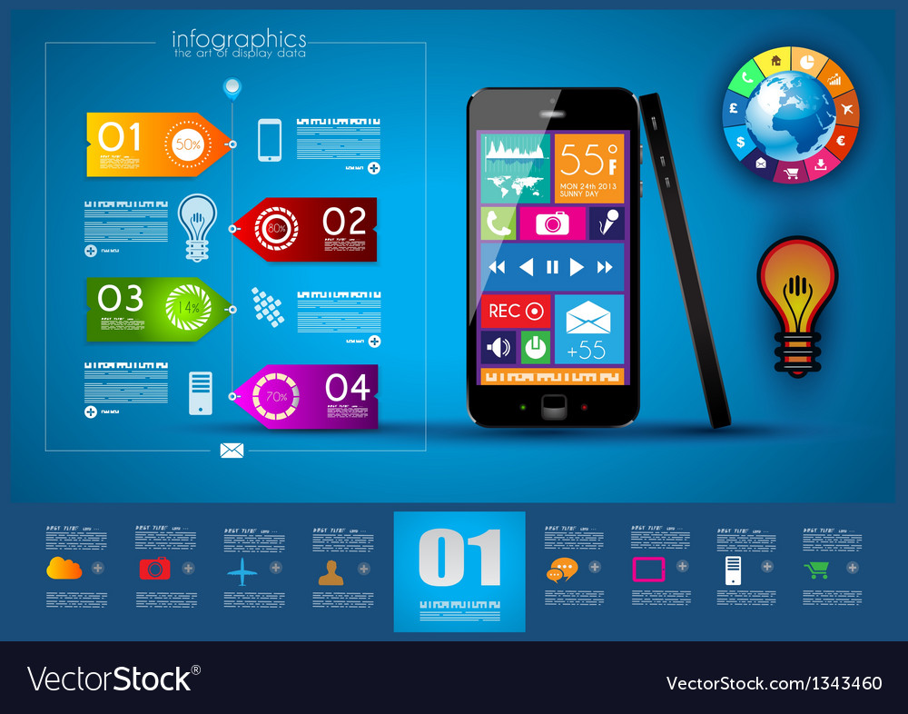 Modern infographic with a touch screen smartphone vector