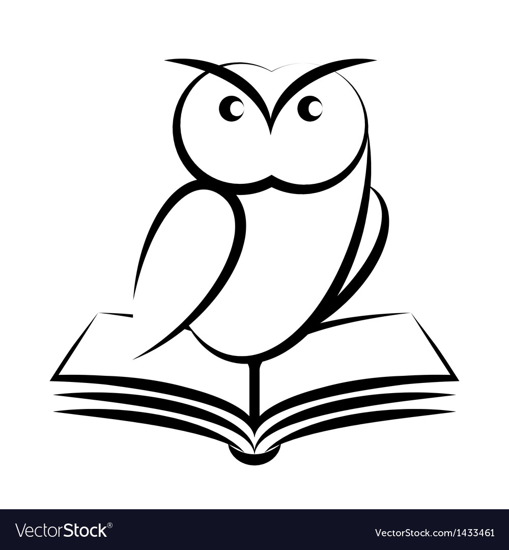 Cartoon of owl and book - symbol of wisdom vector