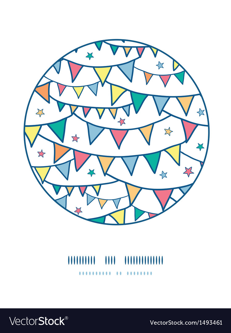 Colorful doodle bunting flags circle decor pattern vector