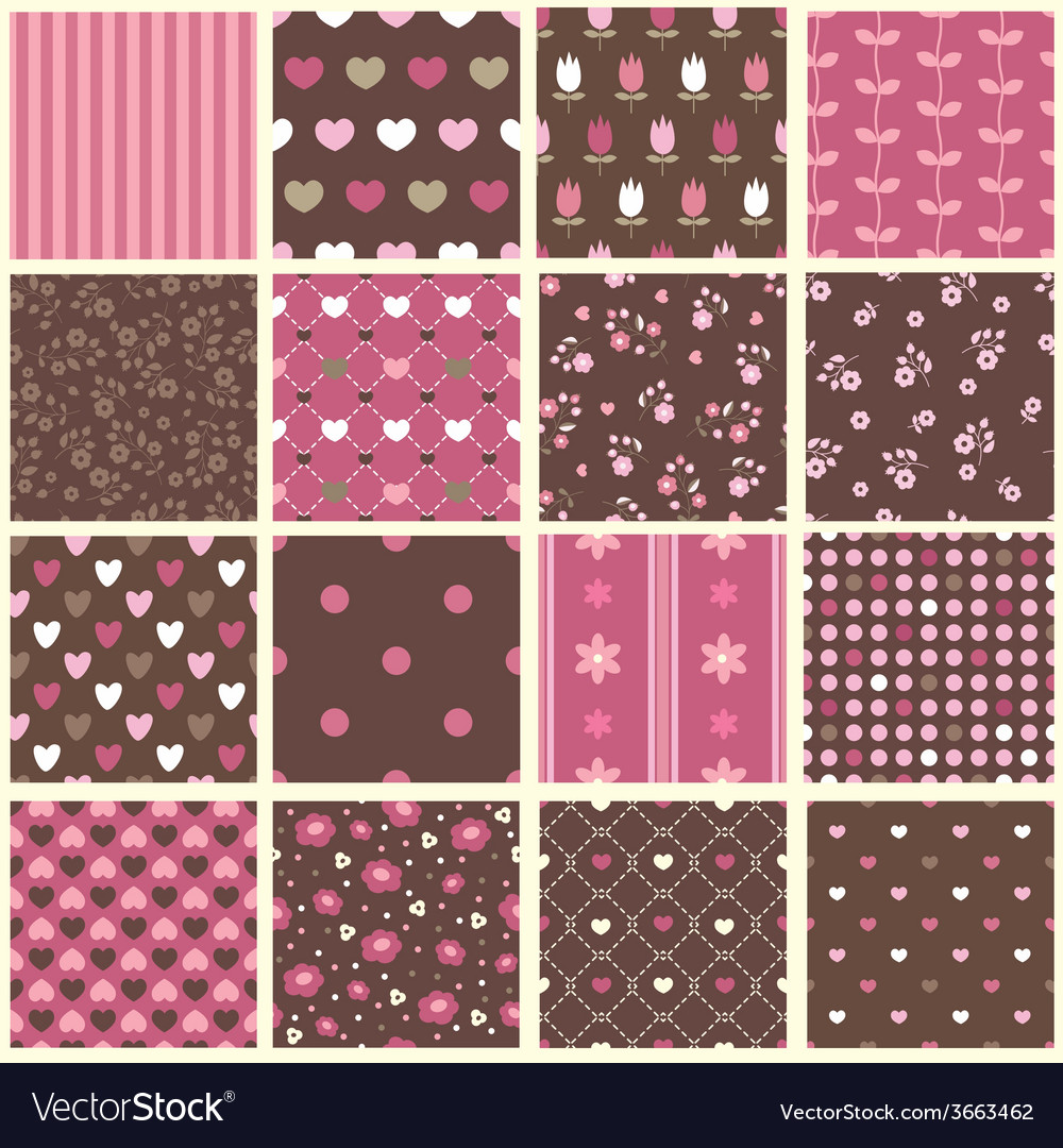 Set of abstract vintage seamless patterns vector