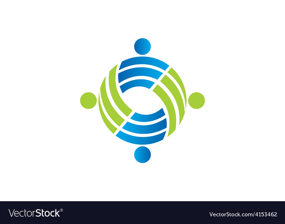 Teamwork circle people group logo vector