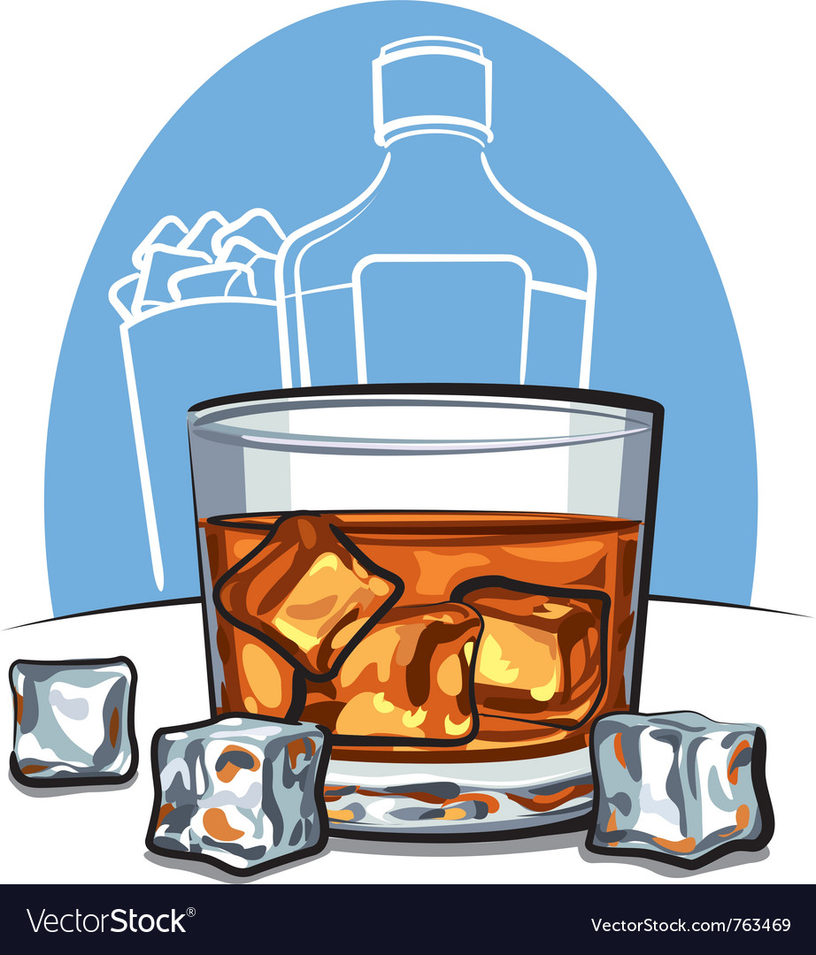 Glass of scotch whiskey and ice vector