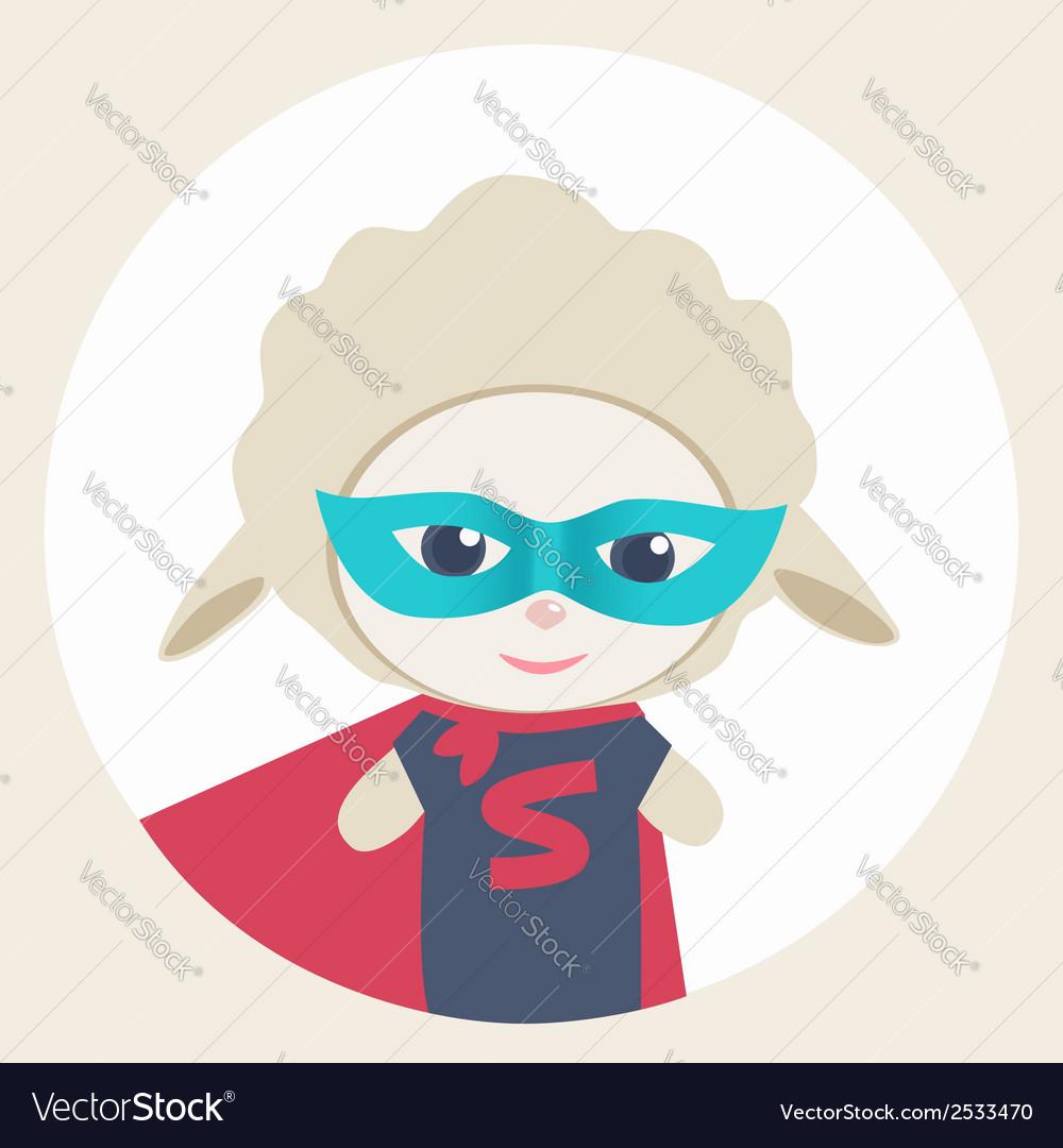 Cute cartoon sheep super hero vector