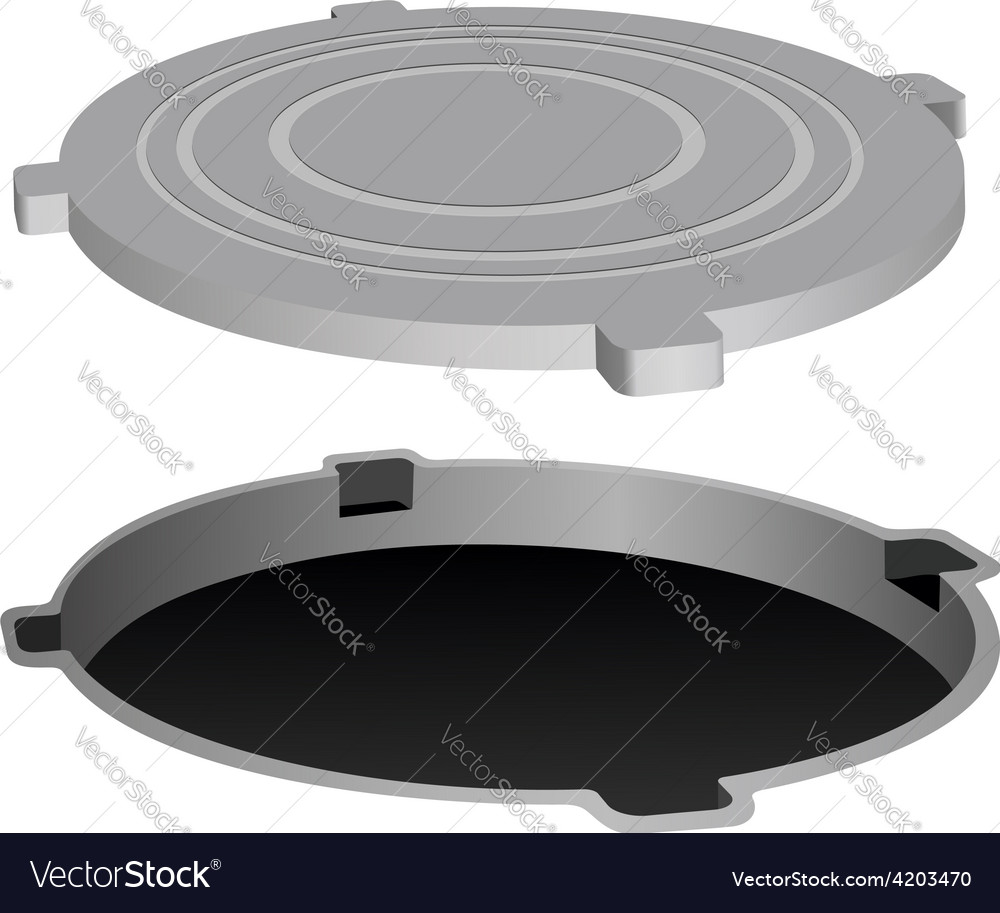 Open metal manhole vector