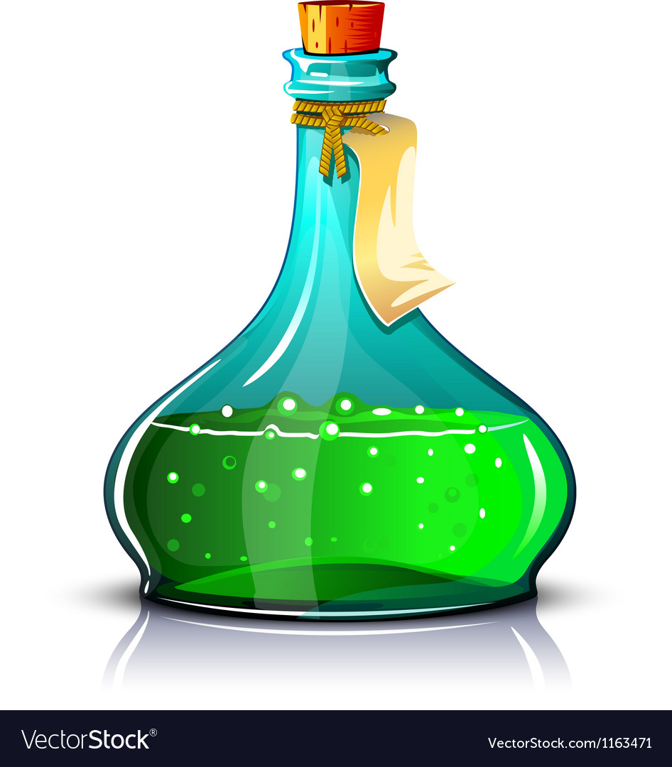 Bottle of green elixir vector