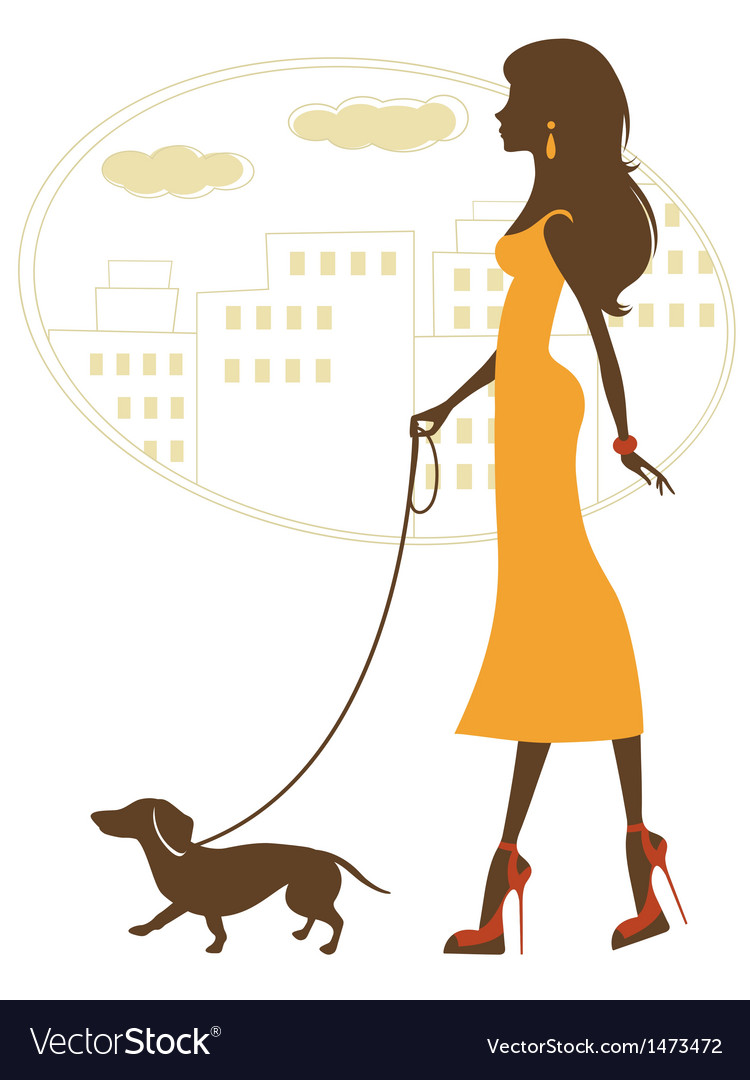 Beauty with badger dog vector