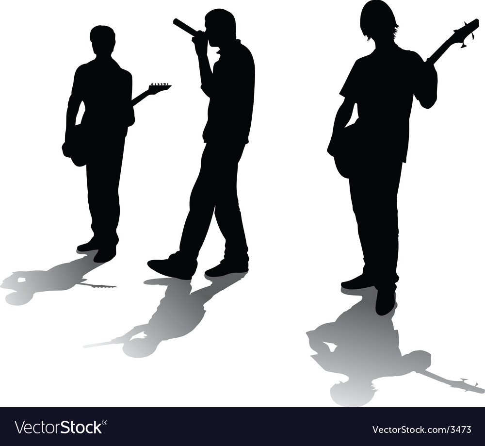 Silhouettes of young rockers vector