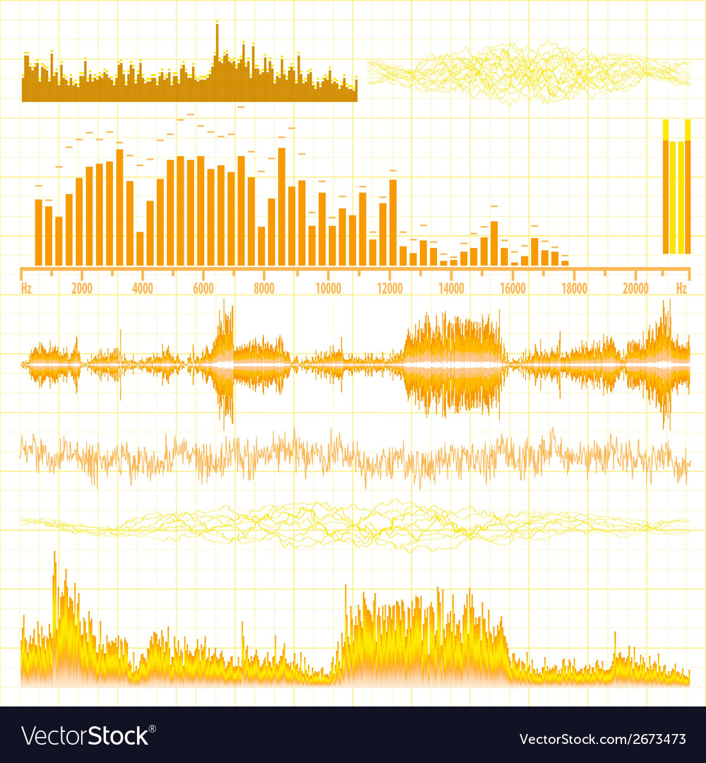 Sound waves set music background eps 10 vector