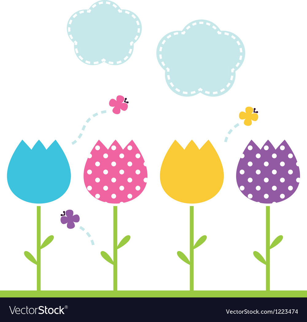 Cute spring garden tulips isolated on white vector
