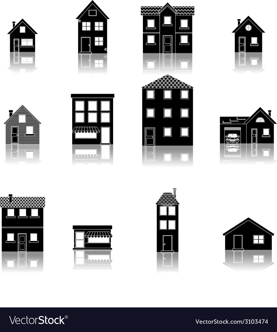Modern trendy retro house street flat icons set vector