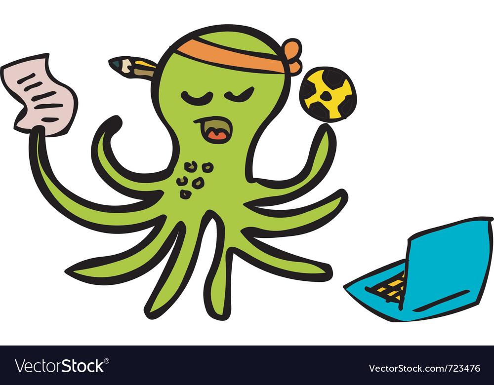 Gambling octopus vector