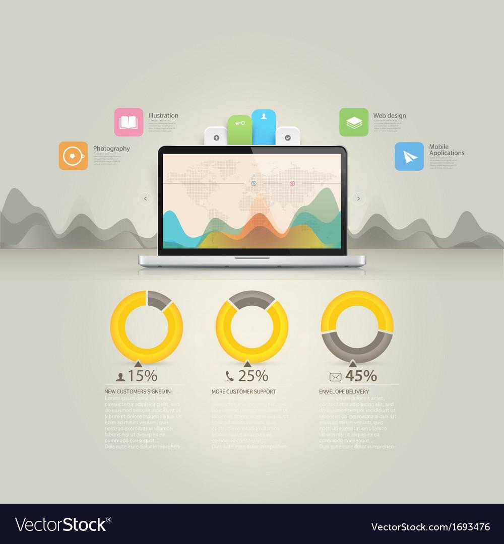 Infographics elements computer laptop notebook c vector