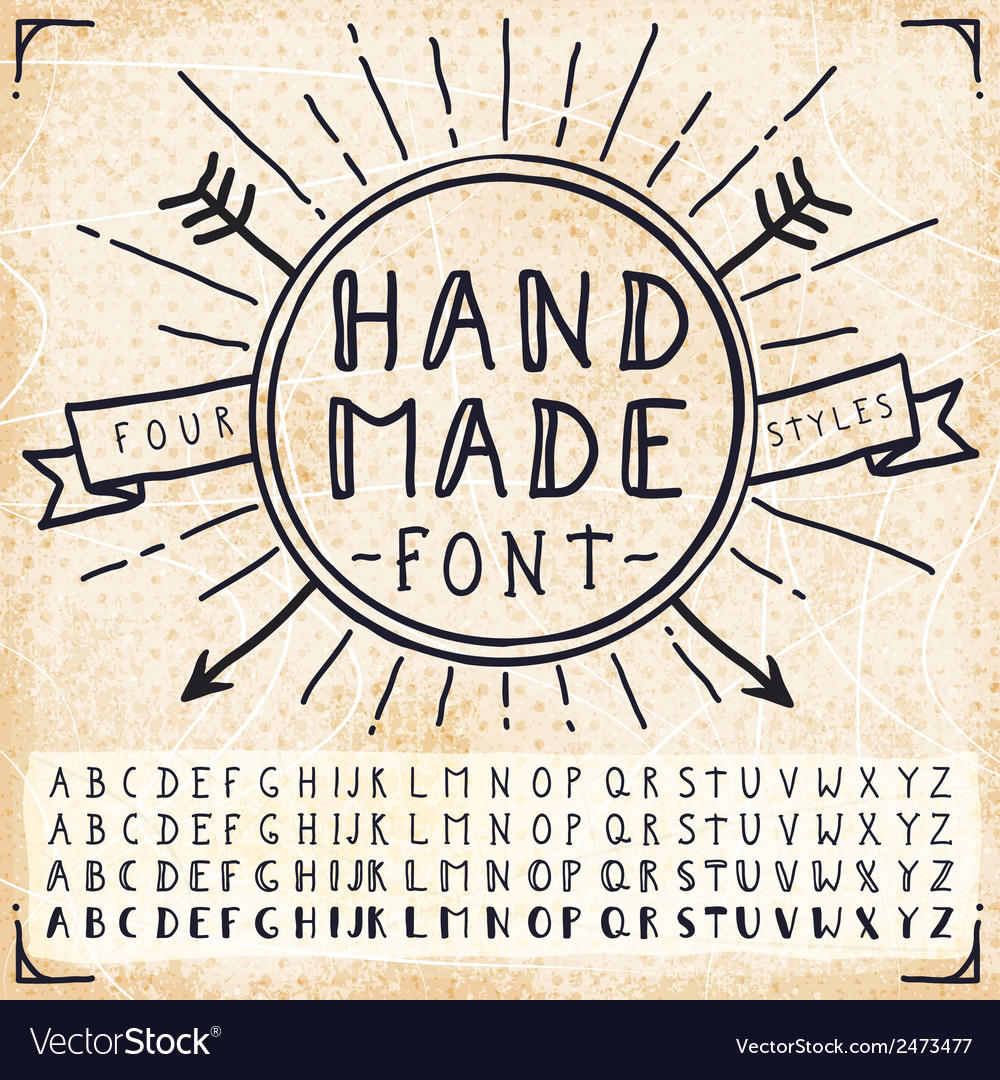 Handwriting doodle hand drawn fonts vector
