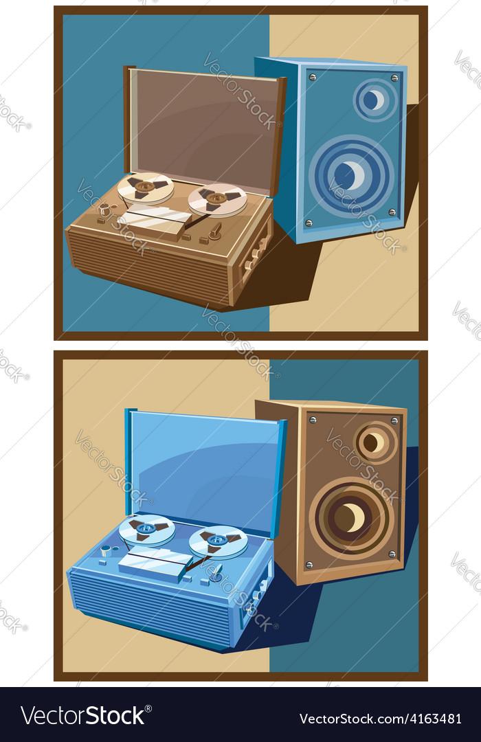 Old reel tape recorder set vector