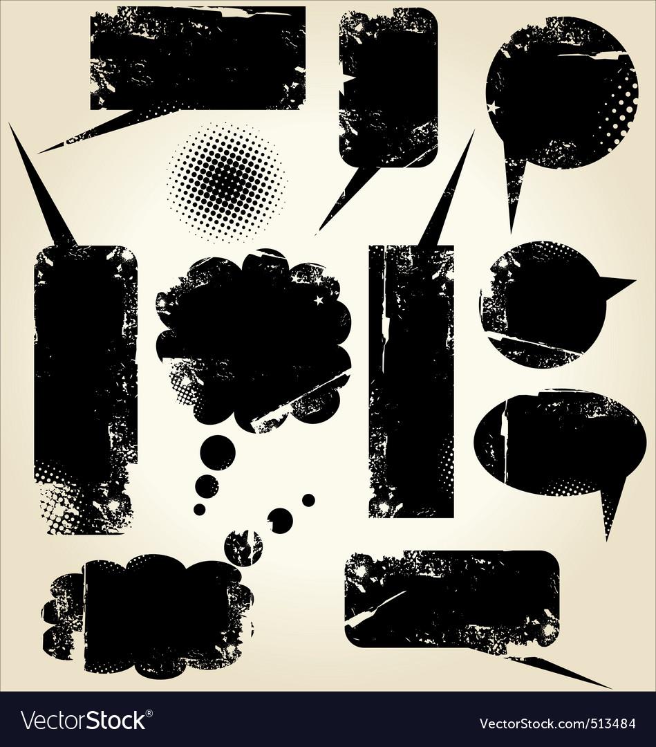 Grunge dirty speech bubbles vector