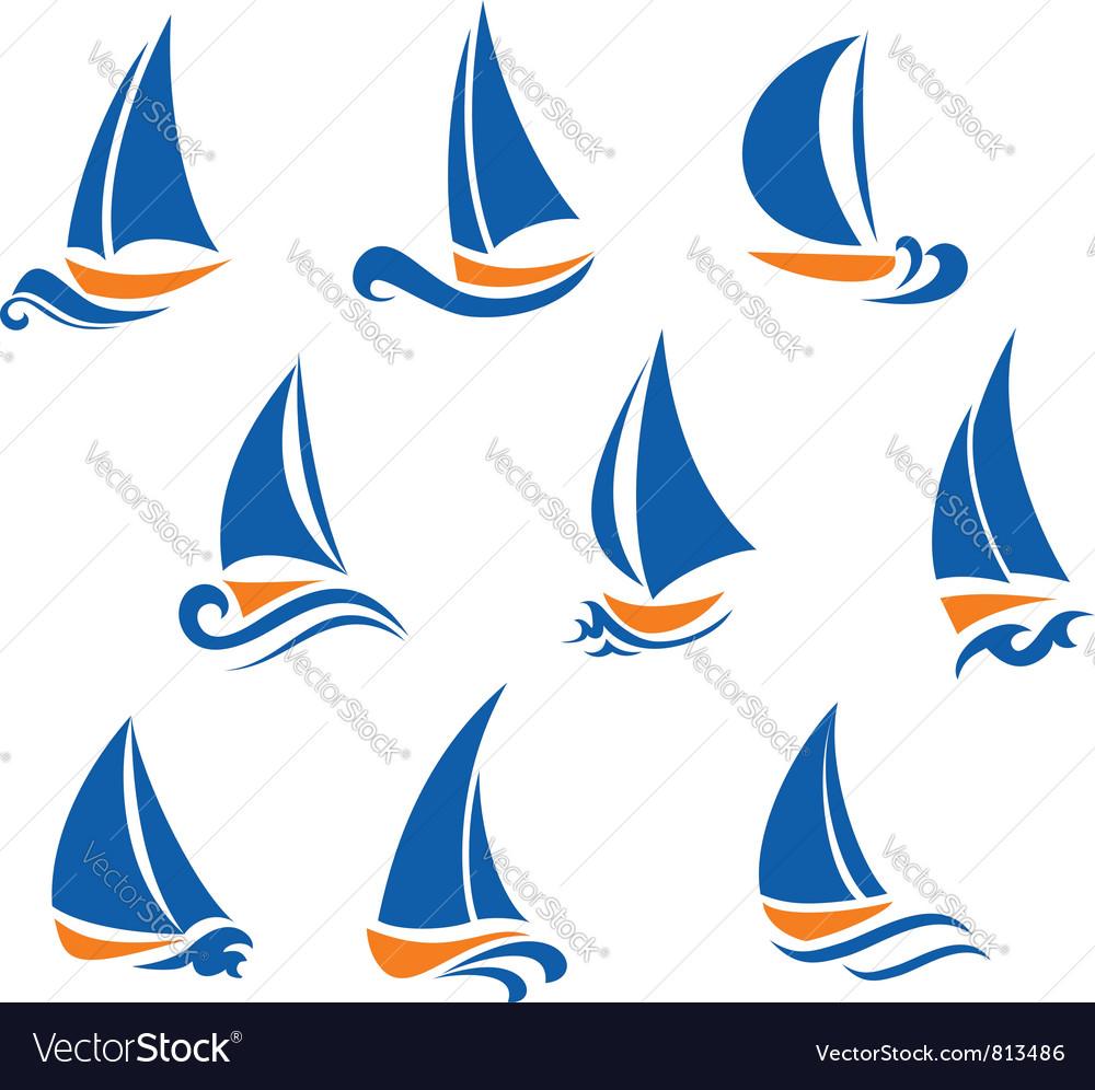 Yachting and regatta symbols vector