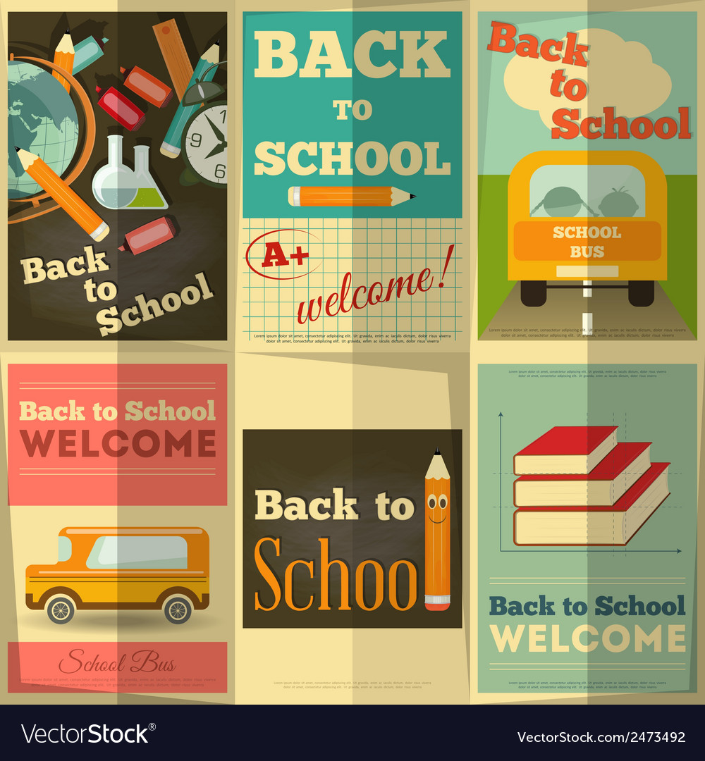 School posters set vector