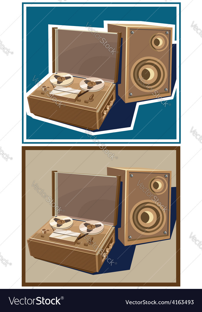 Old reel tape recorder vector