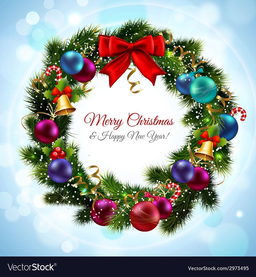 Christmas wreath postcard vector