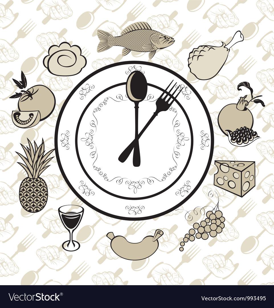 Plate clock vector
