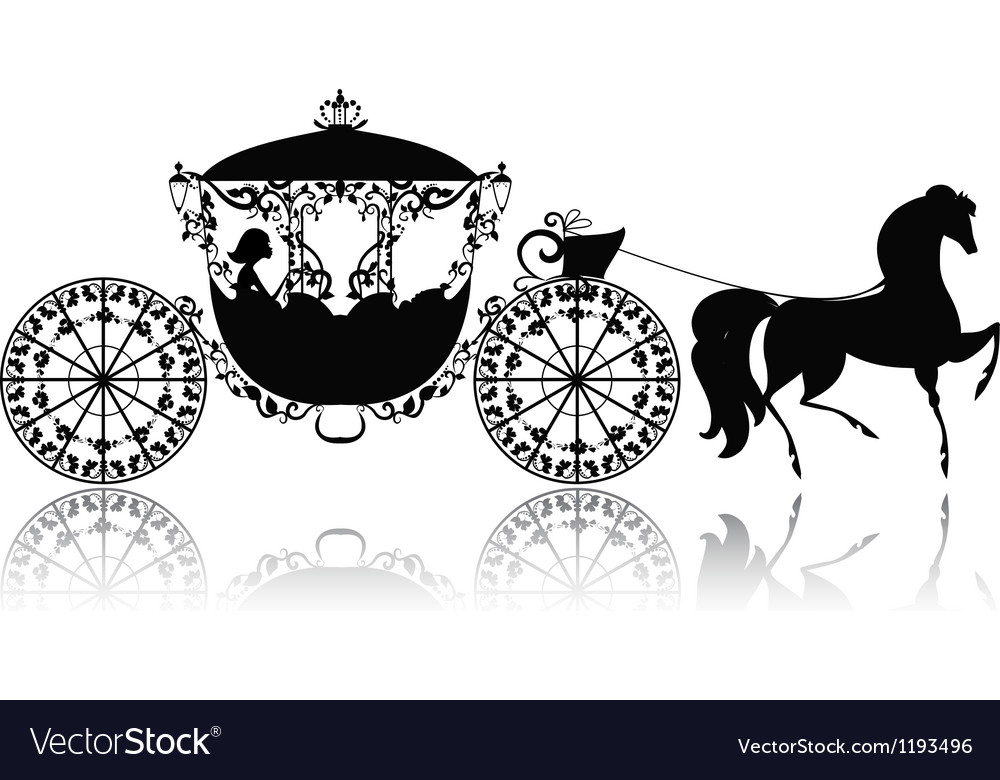 Silhouette horse carriage vector