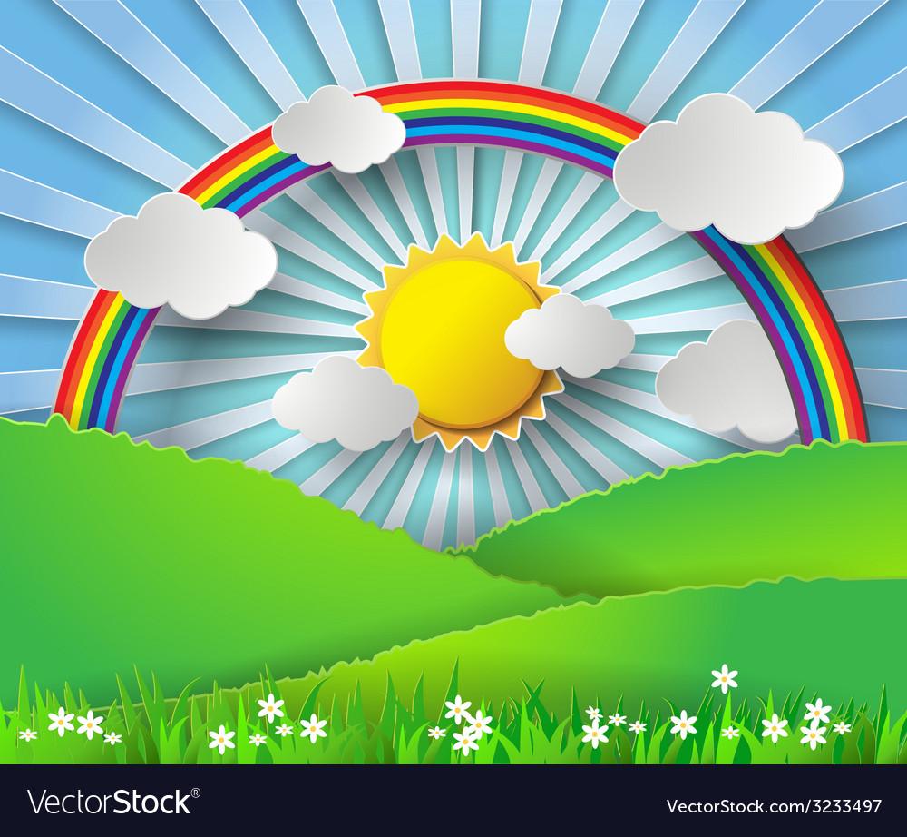 Sunlight on cloud with rainbow over glass vector